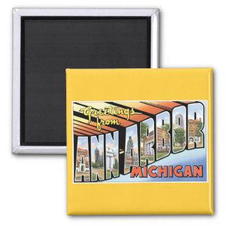 ¡Saludos de Ann Arbor Michigan Imanes Para Frigoríficos