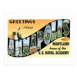 Saludos de Annapolis, MD, hogar de Academ naval Postales