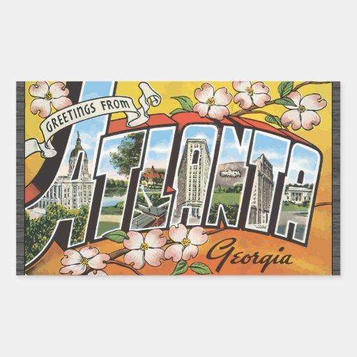 Saludos de Atlanta Georgia, vintage Pegatina Rectangular
