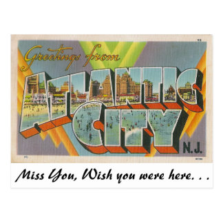 Saludos de Atlantic City, New Jersey Postal