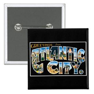 ¡Saludos de Atlantic City! Pin Cuadrada 5 Cm