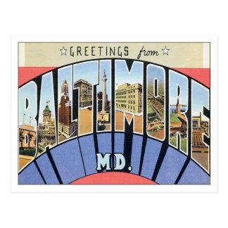 Saludos de Baltimore Maryland los E.E.U.U. Postal