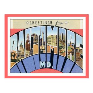 Saludos de Baltimore Maryland Postales
