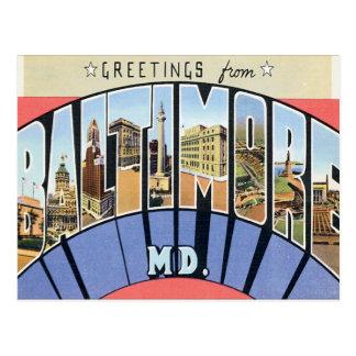 Saludos de Baltimore Maryland Postal