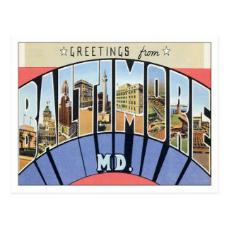 Saludos de Baltimore Maryland Tarjetas Postales