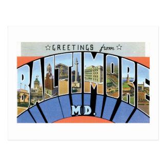 ¡Saludos de Baltimore, Maryland! Tarjetas Postales