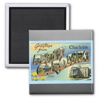 Saludos de Carolina del Norte Charlotte, vintage Imán Cuadrado