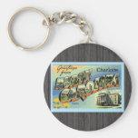 Saludos de Carolina del Norte Charlotte, vintage Llaveros Personalizados