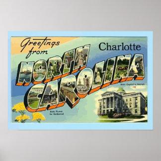 Saludos de Carolina del Norte Charlotte, vintage Impresiones