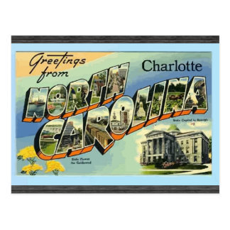 Saludos de Carolina del Norte Charlotte, vintage Postales