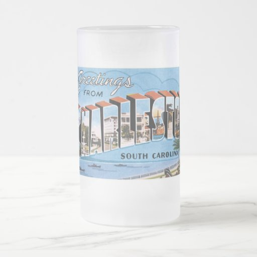 ¡Saludos de Charleston, Carolina del Sur! Taza Cristal Mate