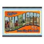 Saludos de Charlotte N.C., vintage Postal