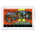 ¡Saludos de Cheyenne, Wyoming! Postal del vintage Tarjetón