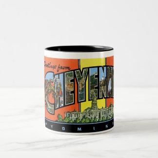 ¡Saludos de Cheyenne, Wyoming! Postal del vintage Taza De Café