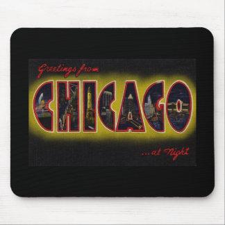 Saludos de Chicago Illinois en la noche Alfombrilla De Raton