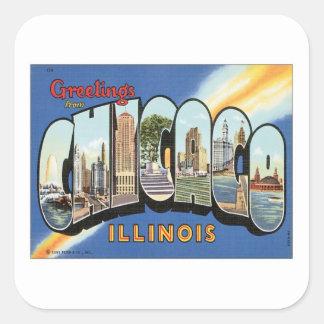 Saludos de Chicago Illinois Pegatina Cuadrada