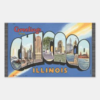 Saludos de Chicago Illinois, vintage Pegatina Rectangular