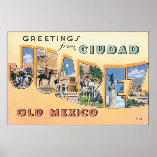 Saludos de Ciudad Juárez México viejo, vintage Póster