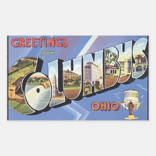 Saludos de Columbus Ohio, vintage Pegatina Rectangular