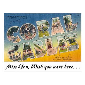 Saludos de Coral Gables, la Florida Postales