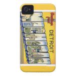 Saludos de Detroit Michigan Case-Mate iPhone 4 Carcasa