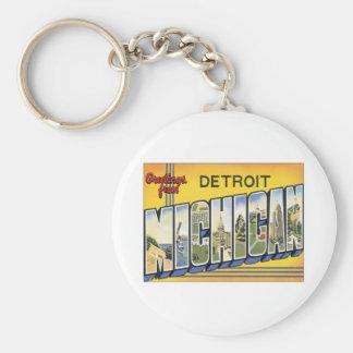 Saludos de Detroit Michigan Llavero Redondo Tipo Pin