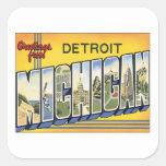 Saludos de Detroit Michigan Pegatina Cuadrada