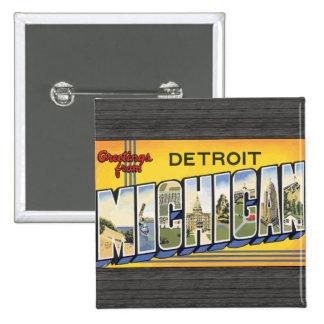 Saludos de Detroit Michigan, vintage Pin Cuadrado