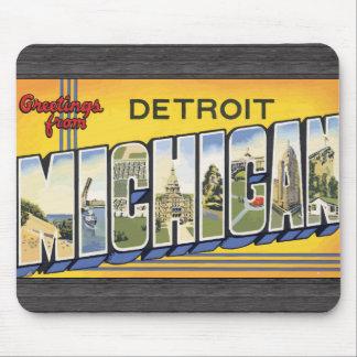 Saludos de Detroit Michigan, vintage Alfombrillas De Ratón