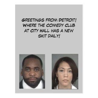 Saludos de Detroit Tarjeta Postal
