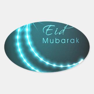 Saludos de Eid Mubarak Pegatina Ovalada
