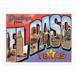 Saludos de El Paso, Tejas Tarjeta Postal