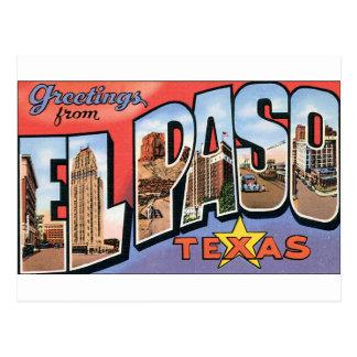 ¡Saludos de El Paso, Tejas! Tarjetas Postales