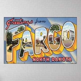 Saludos de Fargo Dakota del Norte, vintage Poster