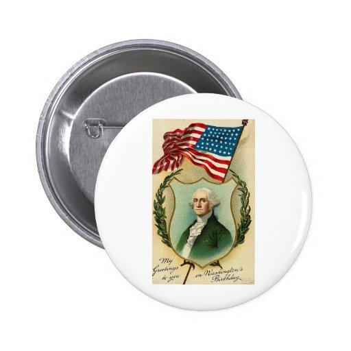 Saludos de George Washington Pin Redondo De 2 Pulgadas