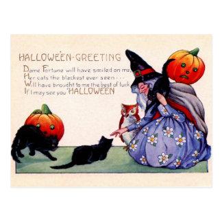 Saludos de Halloween de la bruja, del búho y de Tarjetas Postales