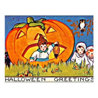 Saludos de Halloween de la calabaza del vintage Postal