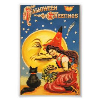 Saludos de Halloween del vintage Impresion Fotografica