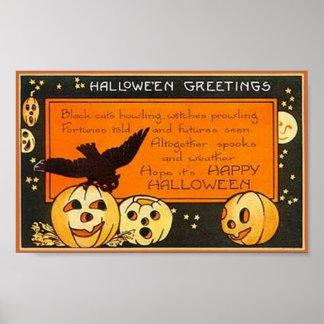 Saludos de Halloween del vintage Poster