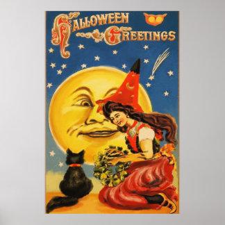 Saludos de Halloween del vintage Póster