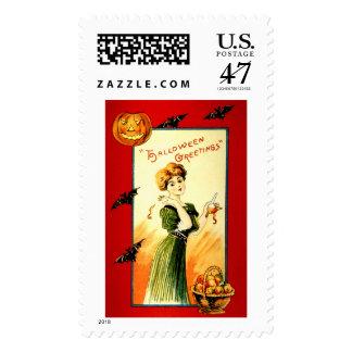 Saludos de Halloween del vintage Sello Postal