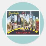 Saludos de Hollywood California Etiquetas Redondas