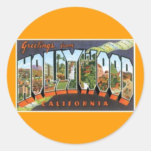 ¡Saludos de Hollywood! Pegatinas Redondas