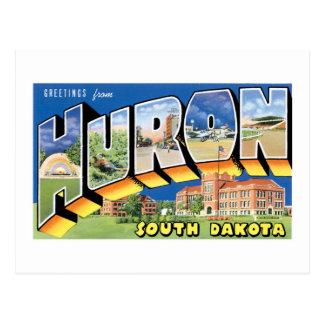 ¡Saludos de Huron, Dakota del Sur!  Retro Tarjetas Postales