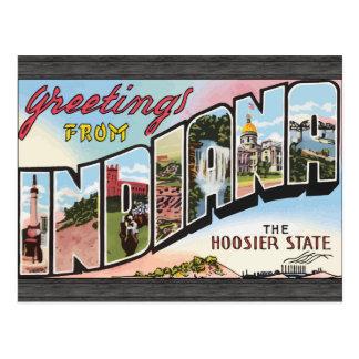 Saludos de Indiana el estado del Hoosier, vintage Tarjetas Postales