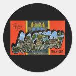 Saludos de Jackson Michigan Pegatinas Redondas