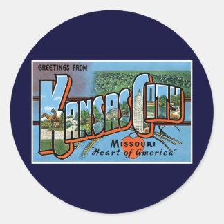 ¡Saludos de Kansas City! Pegatinas Redondas