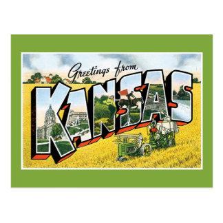 ¡Saludos de Kansas! Viaje por carretera retro del Tarjeta Postal