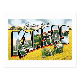 ¡Saludos de Kansas! Vintage Postal