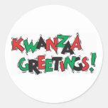 Saludos de Kwanzaa Etiquetas Redondas